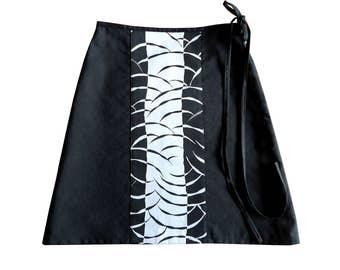Silver grey black Fumi a-line skirt