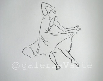 original charcoal drawing  - Woman Modern Dance - europeanstreetteam