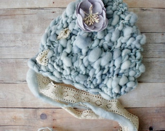 Knit Baby Bonnet, Newborn Baby Hat, Baby Photo Prop, Newborn Photo Props, Baby Hat, Knit Baby Hat in Handspun Ice Blue Yarn