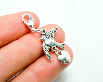 Dove Charm. Peace and Love Dove Charm. Bird Charm. Heart and Dove Charm. SCC424