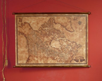 """Fantasy styled map of Canada, pull down canvas Canada map, 85 x 61 cm / 33.5"""" x 24"""""""