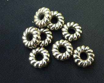 10 pearls 9mm silver decorated washers