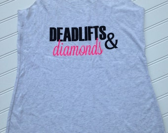 Women's Fitness Tank Top. Workout Tank. Fun Triblend lightweight tank.Racerback Eco Tri Blend.Deadlifts and Diamonds. Stretch Tank