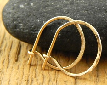 Gold hoops, Ready-to-Ship! Solid 14k YELLOW gold hoops, tiny gold hoops, 1/2 inch hoops, 0.5 inch solid 14k gold, ONE pair (2 hoops).