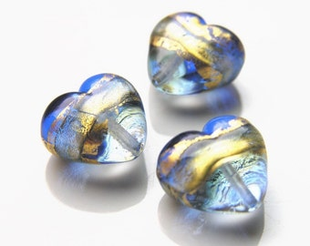 Murano Glass Heart Bead Sapphire Blue and Gold Swirl
