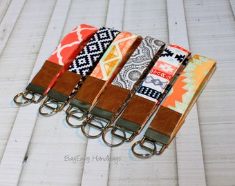 Key Fob / Key Wristlet - Choose Your Fabric - Aztec - Arrowheads - Quatrefoil with Vegan Leather