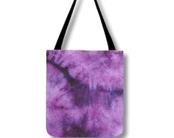 Tote Bag-Tie Dye Tote-Shoulder Bag-Plum Purple-Hippie Bag- 13x13, 16x16, or 18x18-Lined, pockets, adjustable strap