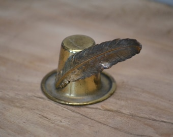 Vintage Brass Yankee Doodle Hat with a Feather Figurine + FREE Shipping