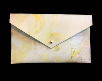 Marbled Leather Envelope Clutch