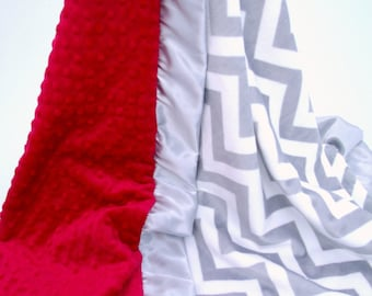 Red and Gray Chevron Minky Blanket