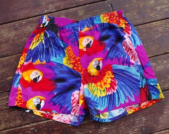 Pete the PARROT 1980's 90's Vintage Men's Colorful Purple + Blue Light Cotton Summer Shorts w/ Tropical Parrots // size Large // Made in USA