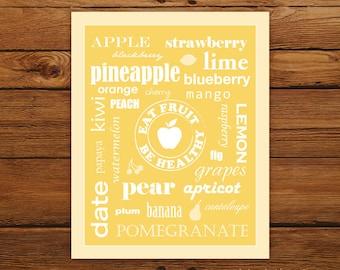 Kitchen Art Eat Fruit Be Healthy Poster - Typography Golden Pineapple