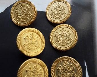 22mm Matt Gold Crest Buttons