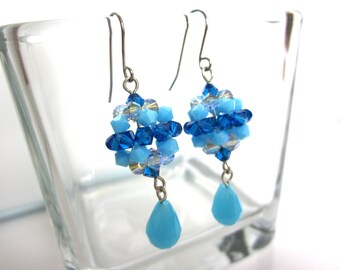 Blue Crystal Earrings, Teal, Capri Blue, Turquoise Earrings, Handmade Beadweaved Earrings, Crystal Balls Earrings, Statement Earrings, OOAK