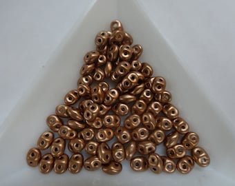 Super Duo Beads, Bronze Copper, 14Gram Tube (about 180pcs)