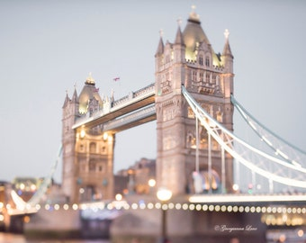 London Photography -  Evening at Tower Bridge, Twinkle Lights, England Travel Photo, Large Wall Art, Home Decor