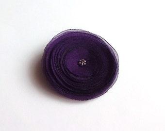 Eggplant Purple Organza Poppy  Embellishment
