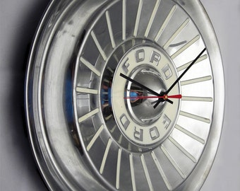 T-Bird Wall Clock made from a 1957 Ford Thunderbird Fairlane Hub Cap - 50's Car Hubcap