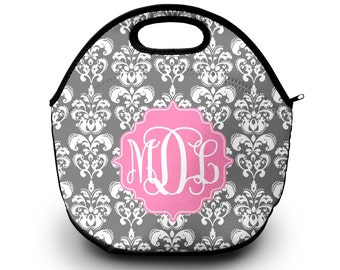 Monogrammed Lunch Box , Monogram Lunch Bag, Monogrammed Lunch Tote, Personalized Lunch Tote, Monogrammed Gift Lunch Bag for Women