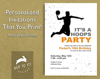 Basketball Birthday Party Invitation - Digital File - You Print