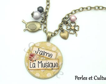 Necklace I love music flowers polka dots pink green beige notes bird cabochon