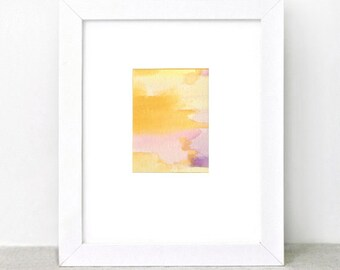 Watercolor Painting - ombre - sunset - yellow orange pink purple - summer - modern minimal - abstract art