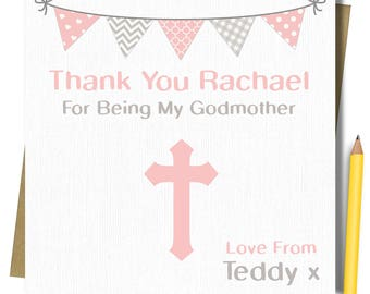 Personalised Thank you for being my Godparents Godmother Godfather Card. Available in pink or blue.