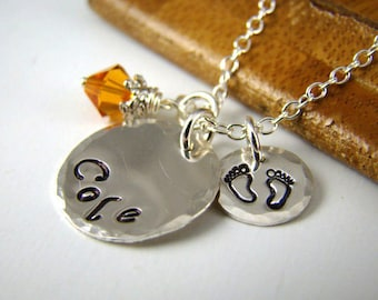 Baby Shower Gift Idea , Mothers Day Gift , Personalized Baby Name Necklace, New Mom Stamped Jewelry, Sterling Silver