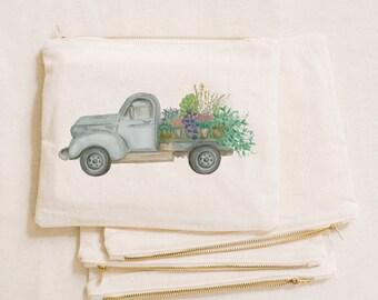 Watercolor Makeup Bag - Floral Truck, Handmade in USA, 100% Organic Cotton, Shop Small, Pencil Case, Bridesmaid Gift, Wedding Favor