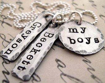 My Boys hand stamped personalized mothers necklace