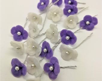 Miniature Polymer Clay Flowers Supply for Flowers Beads Jewelry, set of 20 stems