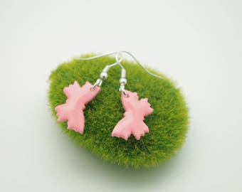 Pale pink butterflies glossy polymer clay earrings