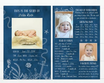 "Nautical Under the Sea Beach Themed Baby's First Year Memory ""Book"""