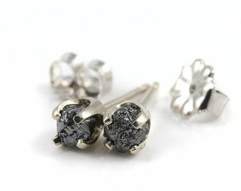 4mm Studs - Jet Black Rough Diamonds on 14K White Gold Ear Posts - Raw Diamond Stones - Solid Gold Ear Studs - April Birthstone