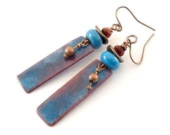Handmade Earrings, Enameled Earrings, Metallic Blue With Red Earrings, Industrial Earrings, Metal, Boho Earrings, Artisan Earrings, AE098