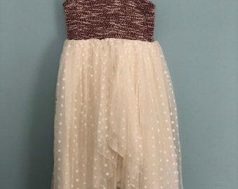 SAMPLE SALE - Gabrielle Dress in Ivory/Rouge - Size 4