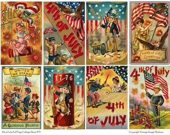 4TH OF JULY Vintage Postcards 3 - Instant Download Digital Collage Sheet