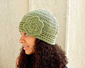 Crochet Beanie, Cloche Hat, Adult, Crochet Flower Hat, Color is Fern,