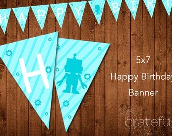 Robot Birthday Party Banner- Gears- Digital- Printable