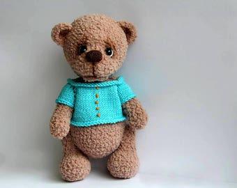 Crochet Bear Teddy, Bear Toy for Children, Baby Bear in sweater