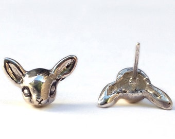 Deer Earrings     studs post bambi fawn silver gold jewelry