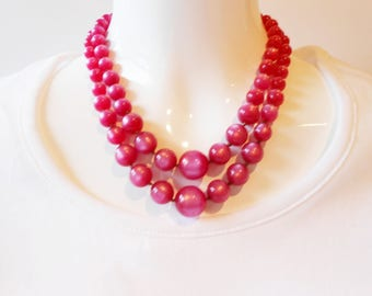 Vintage Necklace, Pink Necklace, Pink Vintage Necklace, Double Strand, Pink Marble Beads.Vintage Jewelry