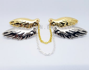 Angel Wings Metal Pins, Chain Connected, Feather, Gold, Silver, Collar, Lapel