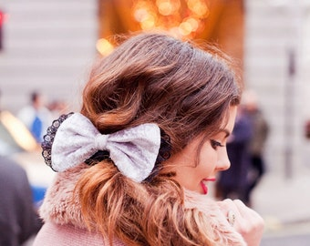Silver Velvet Hair Bow, Silver Velvet Hair Clip, Victoriana Fall Fashion Hair Accessory, Silver Hair Clips