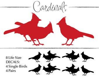 Cardinal Bird Wall Decals: Birdwatchers Nature Gift, Woodland Nursery Decor Wall Decal, Bird Decals, Nature Decor (0177c)