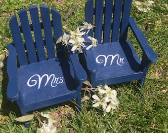The ORIGINAL Set of 2 Cake Topper Wedding Decor Mini Adirondack Chair  Beach Lake Rustic  Personalized  Any Color