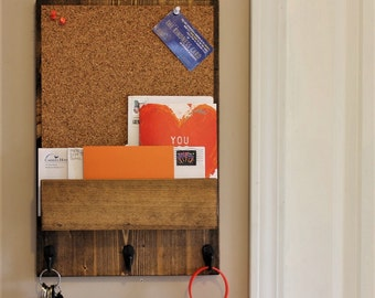 Corkboard with front mail slot, Mail Holder, Mail,  Rustic Organizer, Key Holder, Mail Organizer