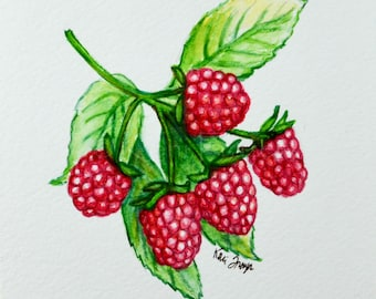Very berry raspberry, original watercolor painting 5x7, ready to frame