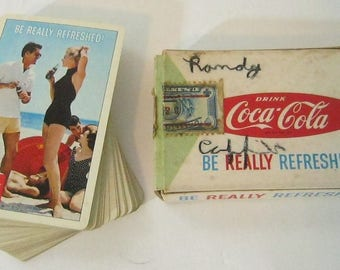 Vintage Coca Cola Playing Cards, Tax Stamp, Mid Century, Beach, Complete Deck, Pin Up