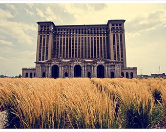 Detroit Photography - Grassy Michigan Central Station